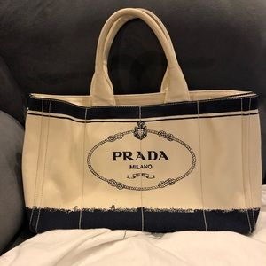 Authentic Prada Logo Canvas Tote